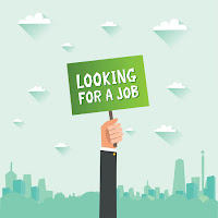 "illustration of a hand holding up a sign that reads: ""Looking for a job?"""