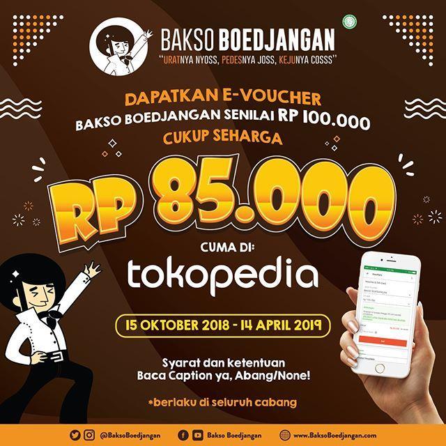 Bakso Boedjangan - Promo EVocuher 100 Ribu CUma 85Ribu di Tokopedia (s.d 14 April 2019)