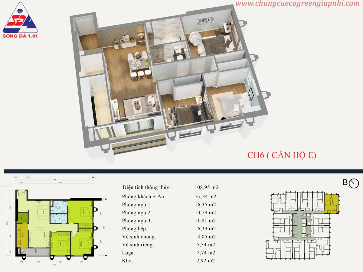 Thiết kế căn 06 Eco green Tower