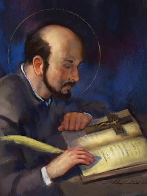 En la imagen San Ignacio de Loyola escribiendo. En el libro, un crucifjo.