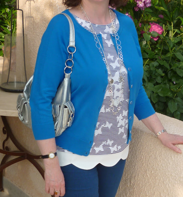 Close up of French Blue cardigan and Butterfly Top