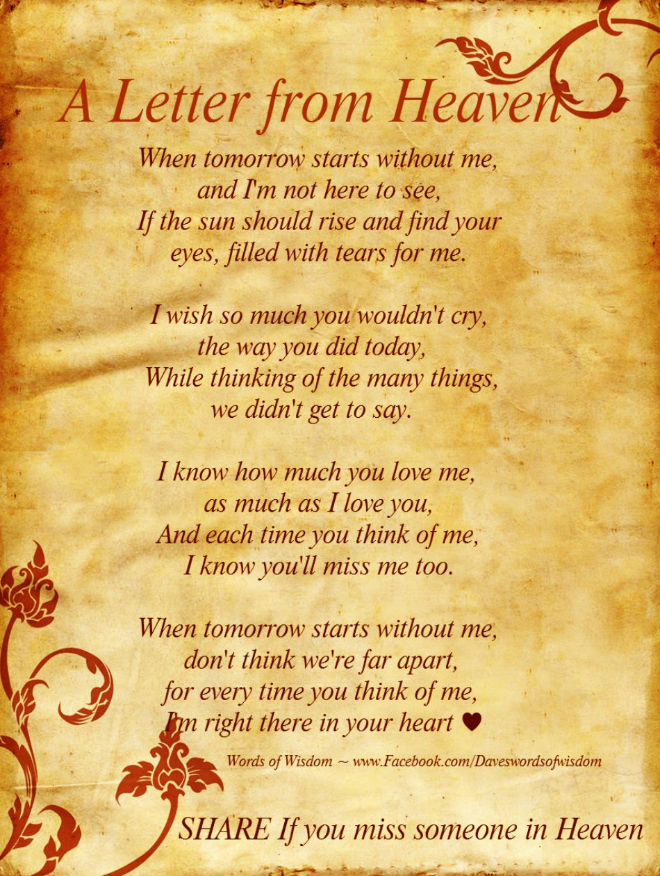 Daveswordsofwisdom A Letter From Heaven