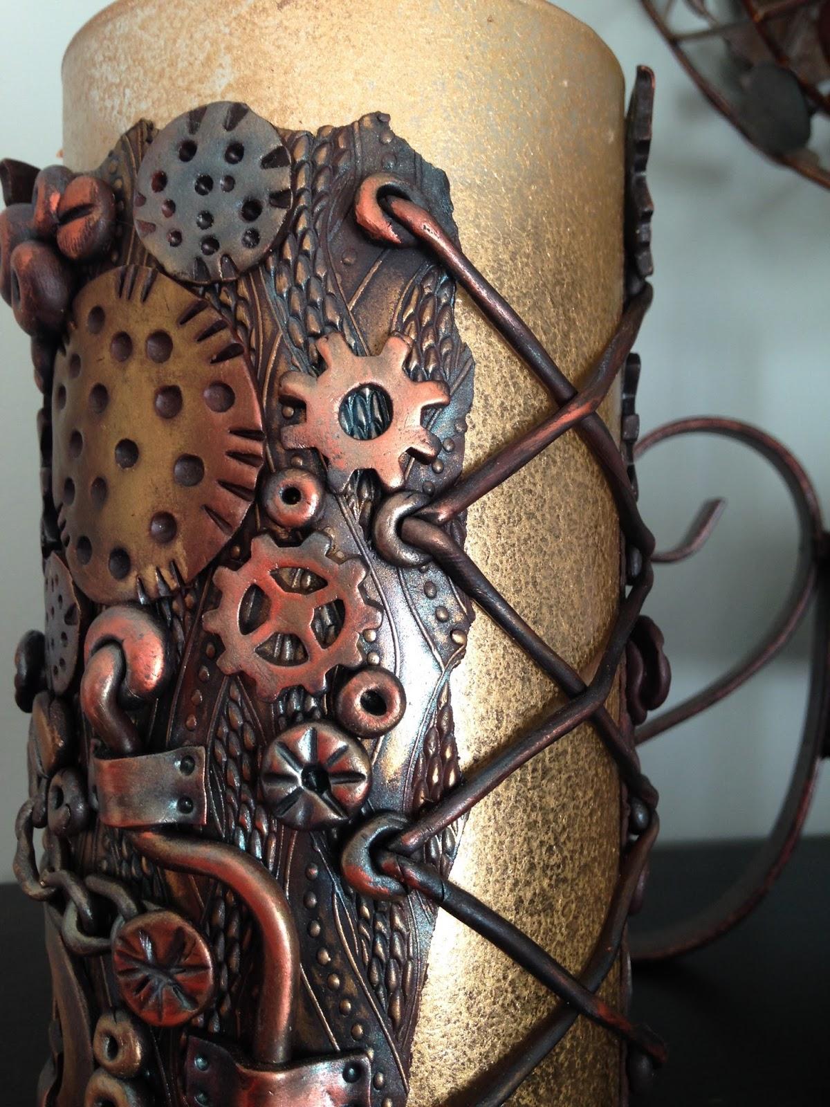 Luna Blue Creations Metallic Steampunk Design Polymer Clay Vase