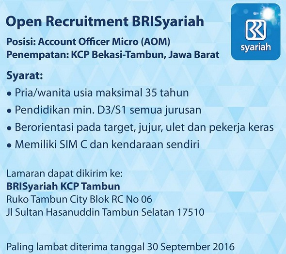 Open Recruitment AOM Bank BRISyariah