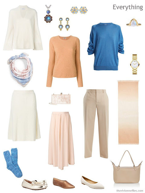 travel capsule wardrobe in ivory, apricot and blue
