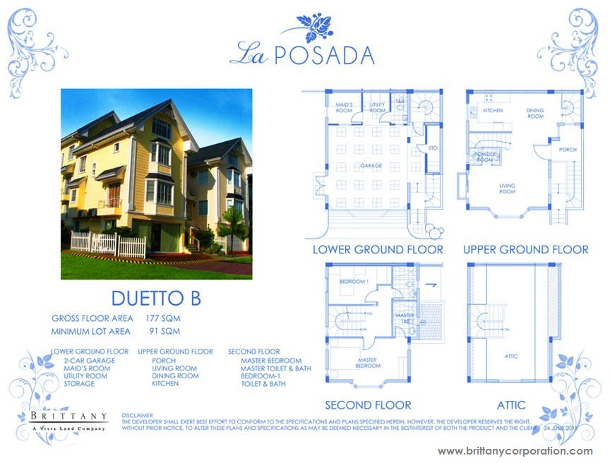 Floor Plan of Duetto Model - La Posada | House and Lot for Sale Sucat Muntinlupa