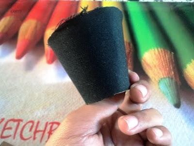 kain perca hitam untuk bikin headband madhatter