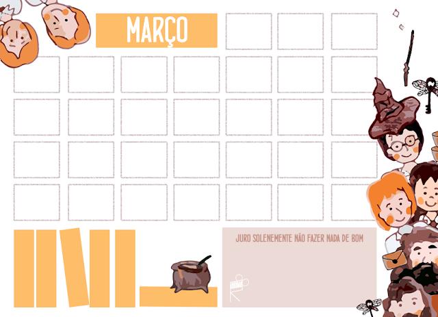 calendário março harry potter