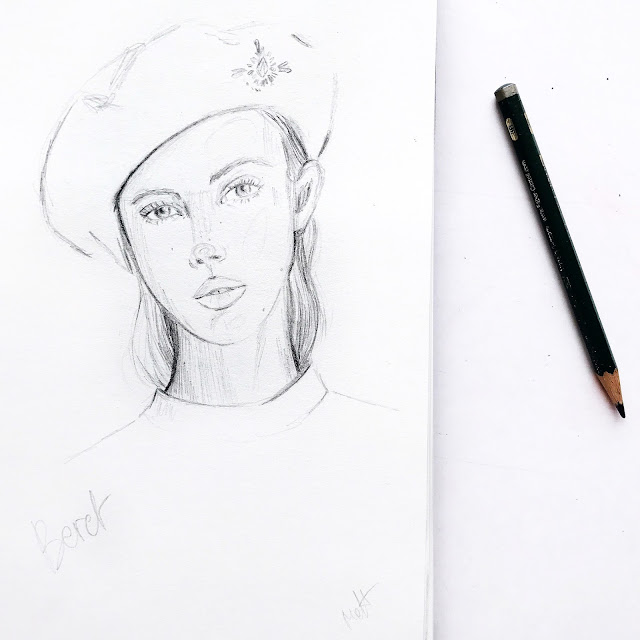 beret, pencil, portrait