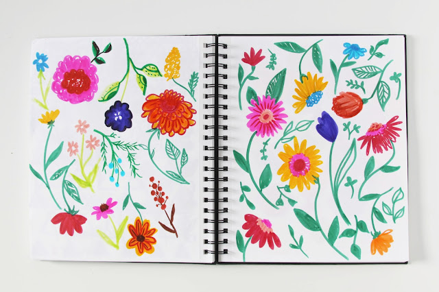 sketchbook, markers, flowers, doodles, sketches, Anne Butera, My Giant Strawberry