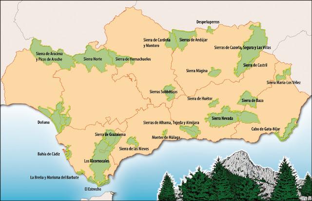 Cartes des Parcs Naturels de l'Andalousie