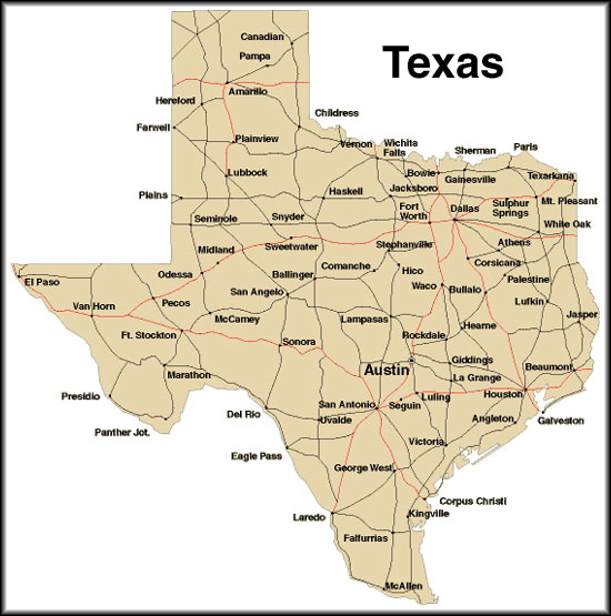Texas City Map, County, Cities