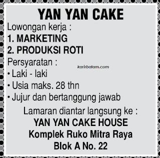 Lowongan Kerja Yan Yan Cake House