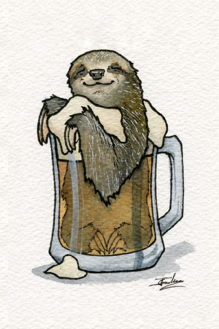 05-Sleepy-Sloth-Cask-Ale-Jon-Guerdrum-Drawings-of-Surreal-Drinking-Visions-of-Animals-www-designstack-co