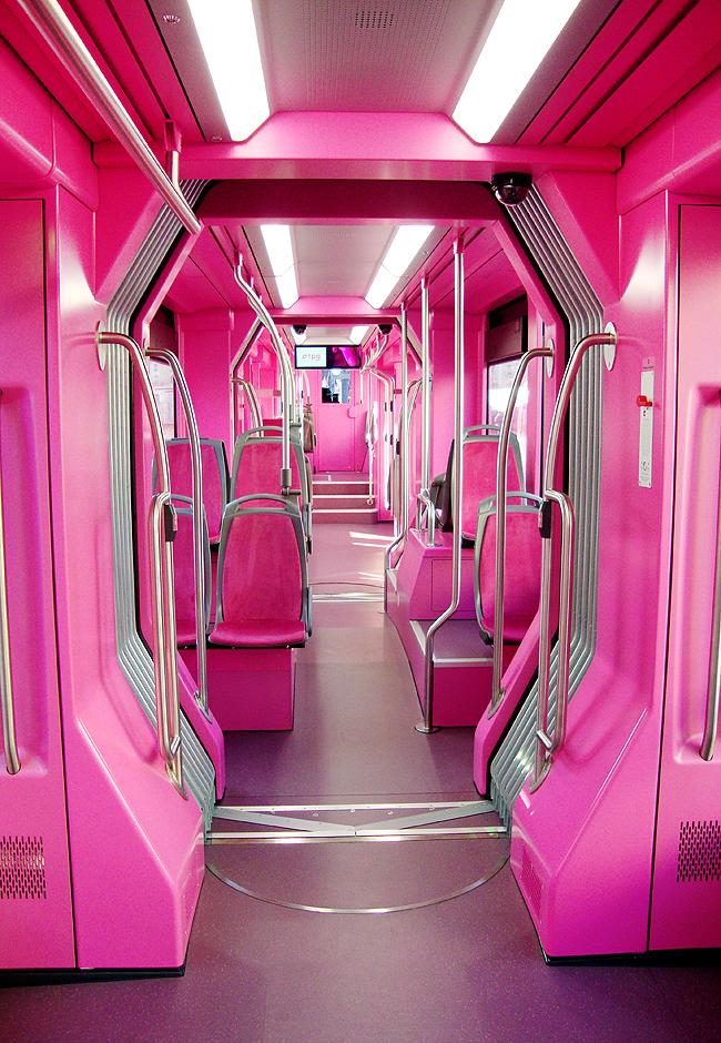 Pipilotti Rist, pink tram, monochrome rose