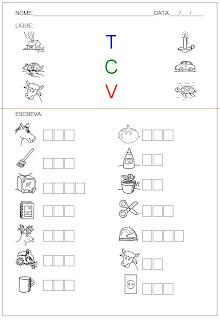 Hipótese de escrita silábica sem valor sonoro - Ligue as figuras e escreva os nomes.
