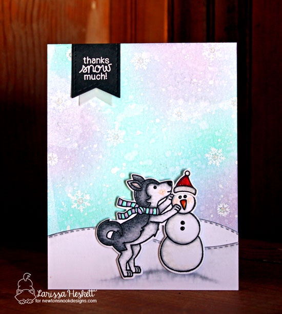Thanks Snow Much Card by Larissa Heskett | Winter Woofs Stamp Set by Newton's Nook Designs #newtonsnook #handmade