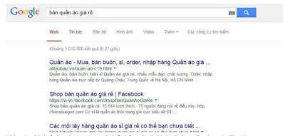 một ví dụ fanpage facebook nằm trong top 10 tìm kiếm của google