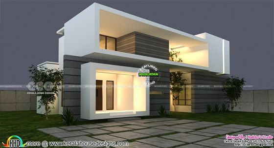 Box model contemporary style house architecture