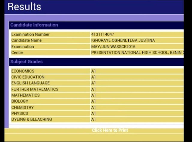 Wow! Check out the best WAEC Result of the decade
