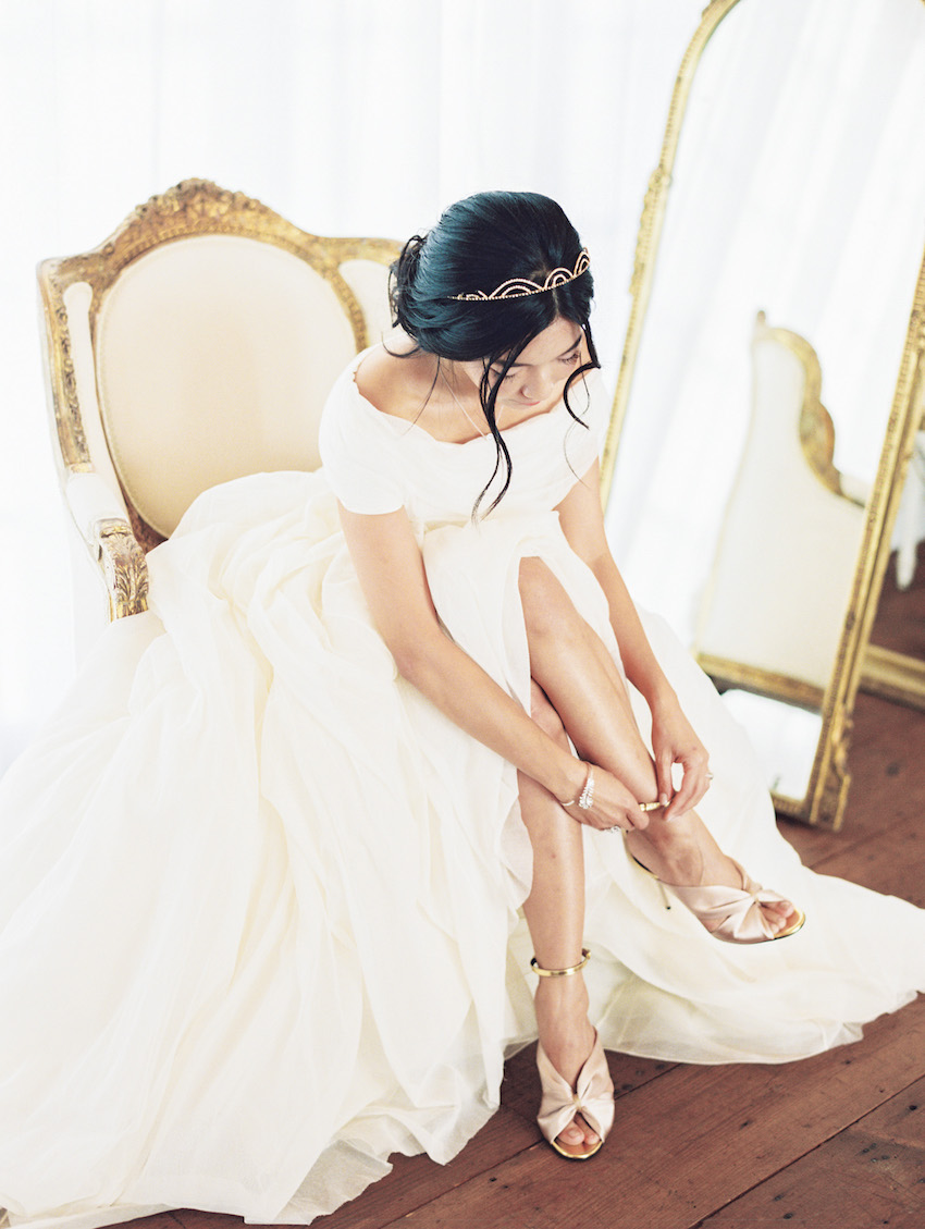Honey & Silk Provencal Wedding | Cortana Bridal Dress, Oscar De La Renta Heels