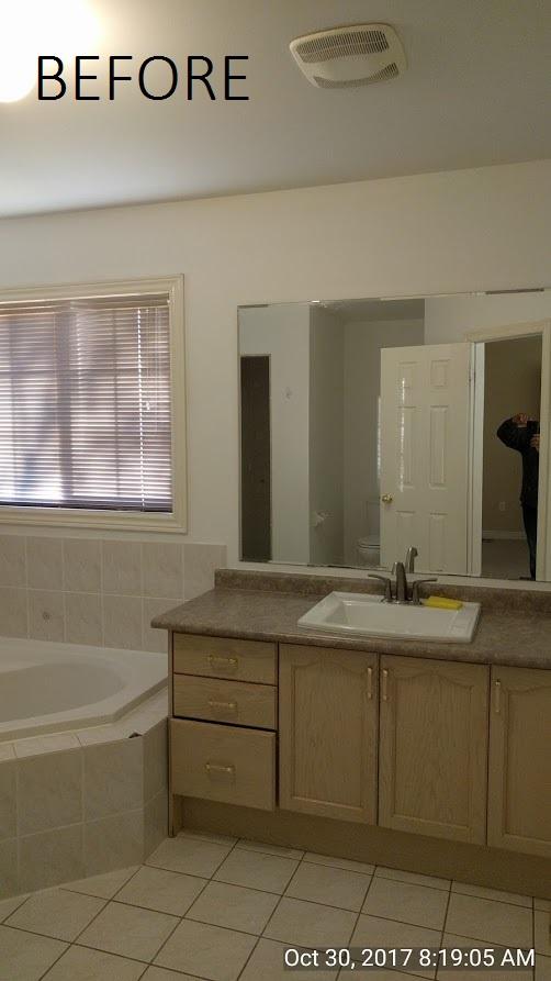before pix of builders grade washroom