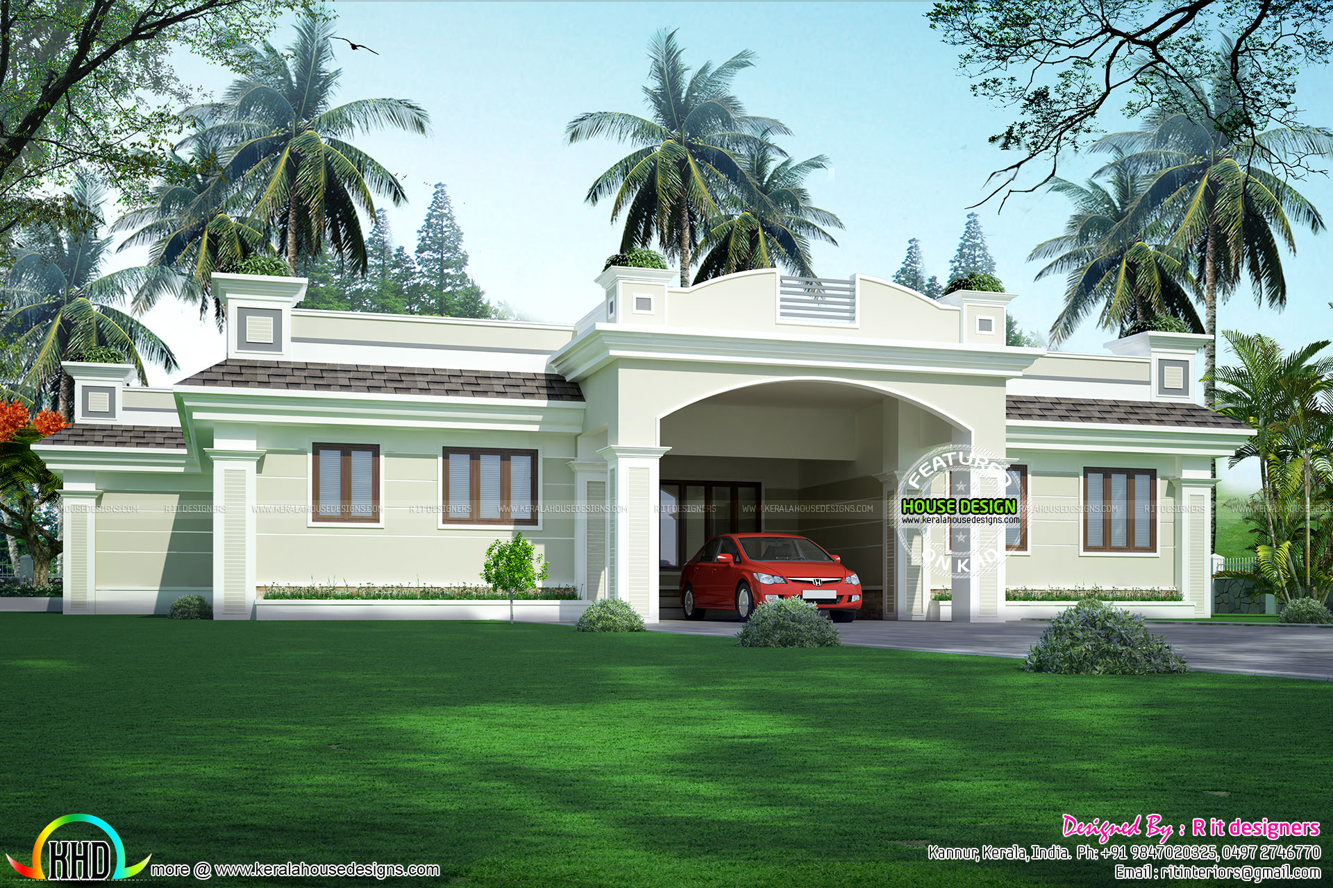 Luxury single floor home kerala home design and floor plans One level luxury house plans
