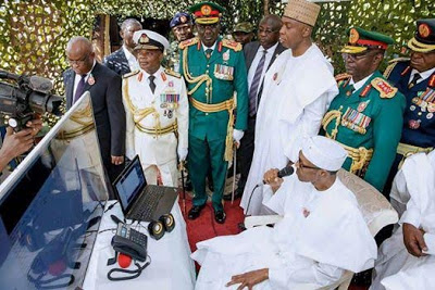 President Buhari took out time to speak to troops in Sambisa forest.