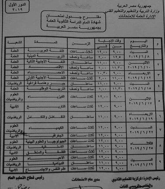 جدول أمتحانات الثانوية عام 2019