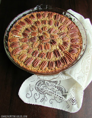 pie plate filled with pecan pie baked oatmeal fresh from the oven