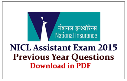 NICL Assistant Exam Previous Year Question Paper Download in PDF