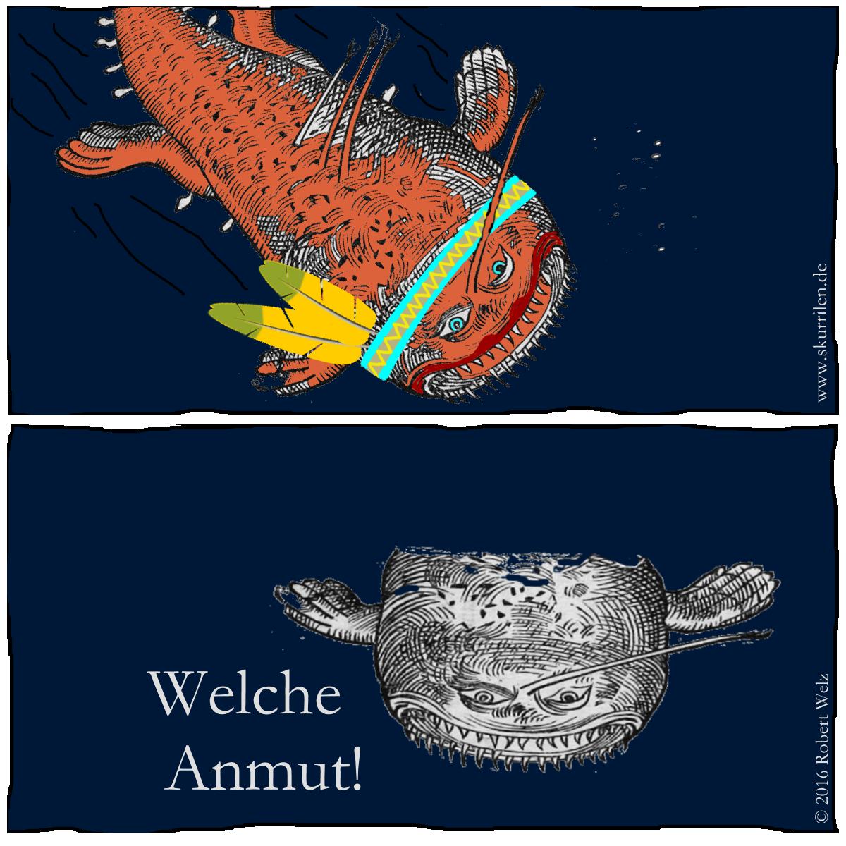 Femme fatale oder Fisch fatale? Satire im offenen Ozean. Das Seeungeheuer im Dienst Ihrer Majestät ist ganz hin und weg.