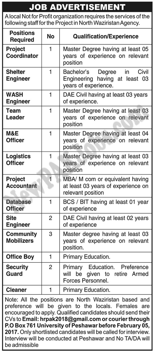 Today Jobs for Project Coordinator, Engineers, Team Leader, Accountant & Other Staff