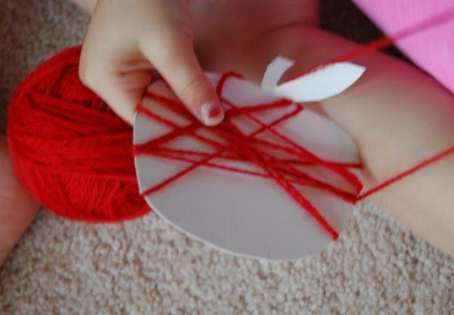 yarn wrapping apple