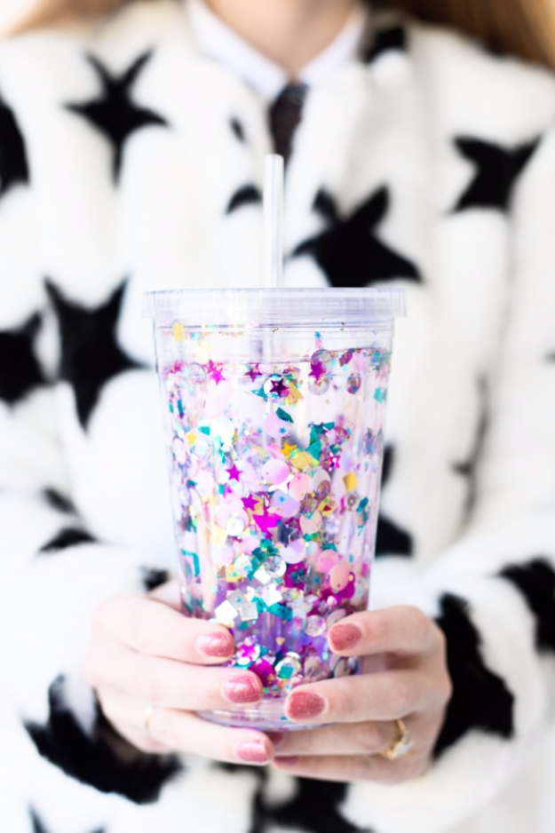 Give basic dollar store tumblers a makeover with glitter and sequins