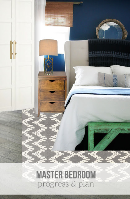 Master Bedroom mood board // navy walls, gray wood flooring, white bedding, pax wardrobe // Craftivity Designs