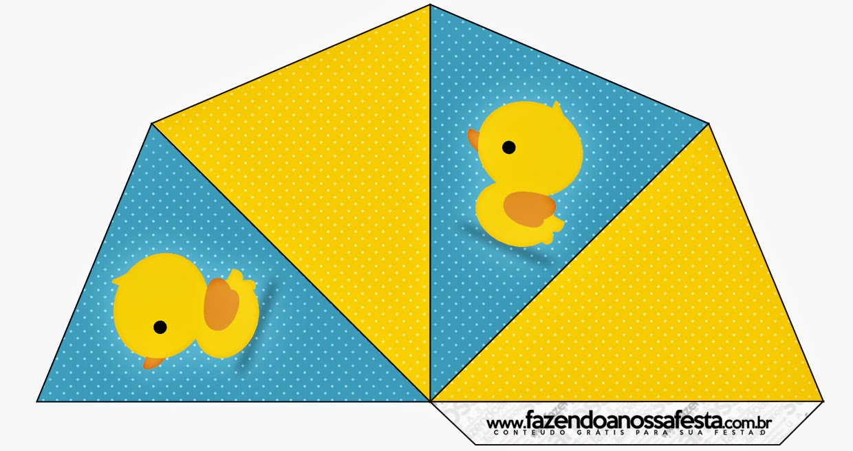 Rubber Ducky Free Printable 4 side Cones.