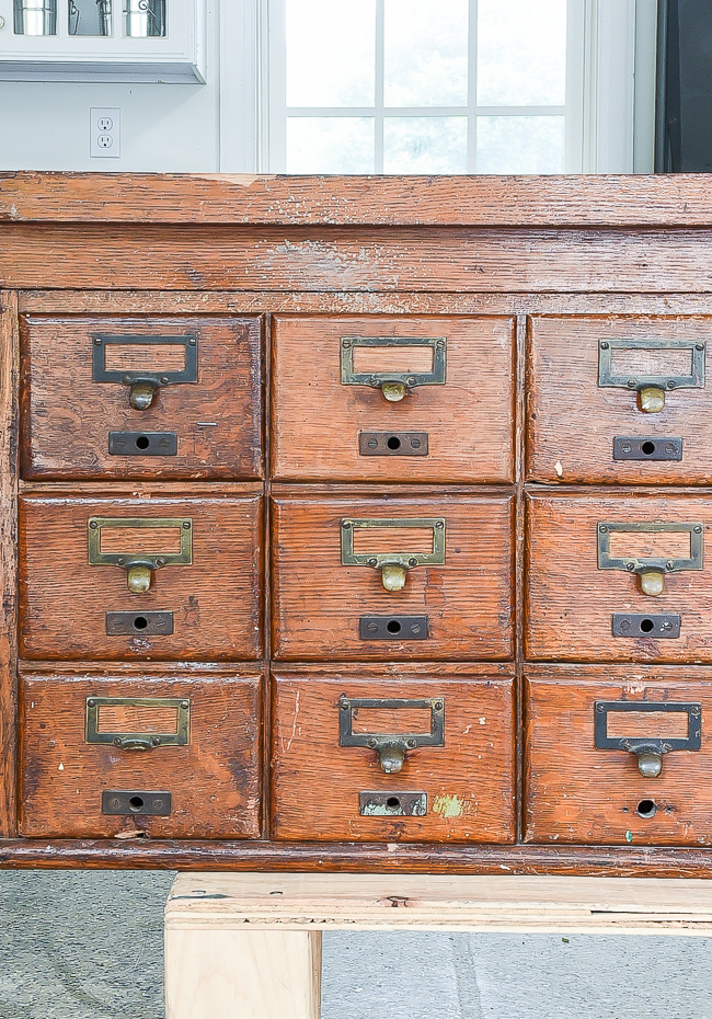 damage to 18 drawer vintage card catalog