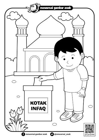Mewarnai Gambar Anak Mewarnai Gambar Berinfaq Di Masjid