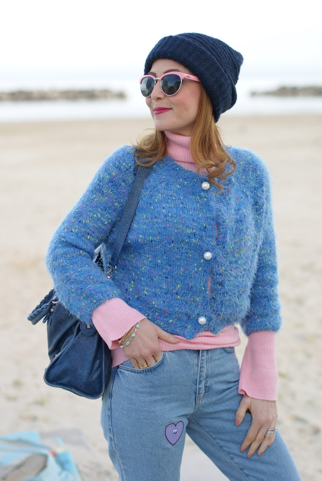 Mom patched jeans, pink turtleneck, Vans sunglasses on Fashion and Cookies fashion blog, fashion blogger style