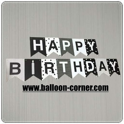 Bunting Flag Segilima HAPPY BIRTHDAY Warna Hitam (Standard 13 Huruf)