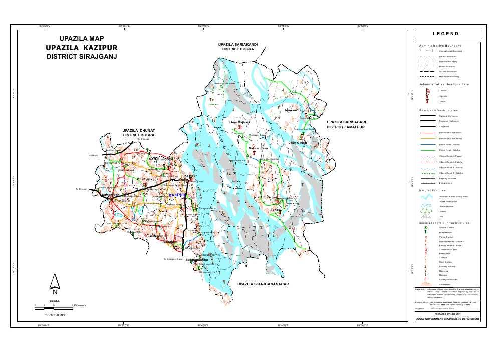 Kazipur Upazila Map Sirajganj District Bangladesh