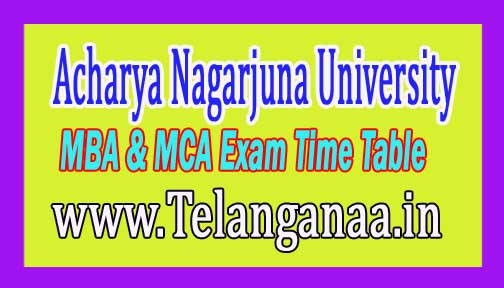 Acharya Nagarjuna University ANU MBA & MCA 1st Sem Time Table Dec 2016