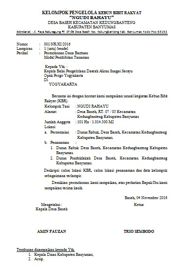 Contoh Proposal Permohonan Bantuan Pengelola Kebun Bibit Rakyar Kbr