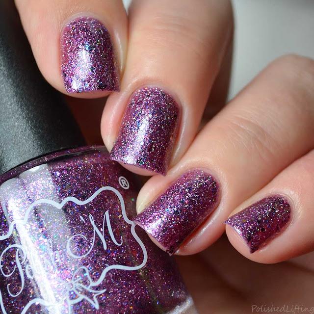 magenta flake nail polish