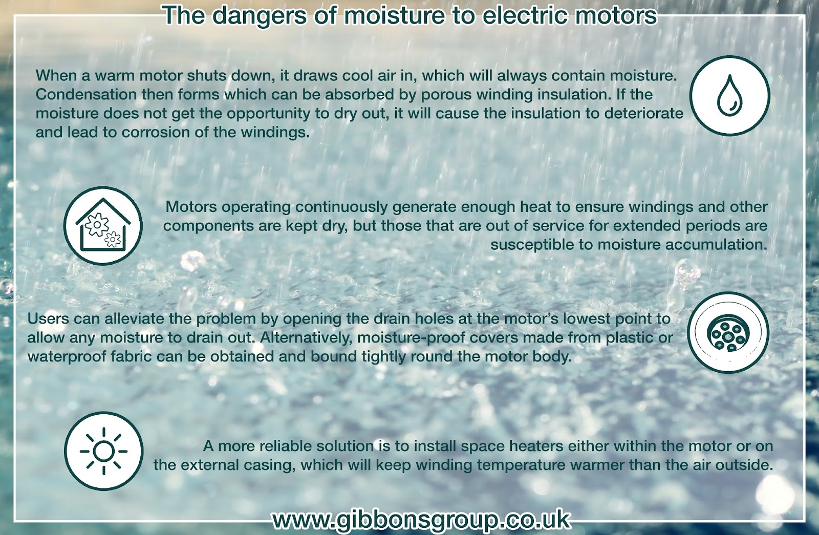 The dangers of moisture to electric motors - The Gibbons Group