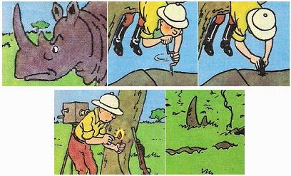 A Rhino is killed by Tintin with a dynamite