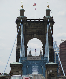 John A. Roebling Bridge, 1867 in Cincinnati, Ohio, from Cincinnati side over the ohio river