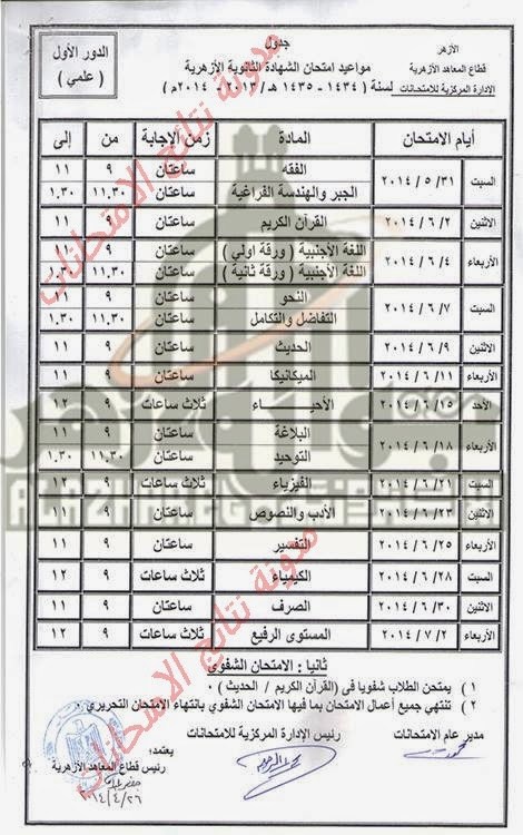 جدول امتحنات الصف الثالث الثانوى الازهرى (علمى) 2014  - الشهاده الثانويه الازهري - الترم الثانى