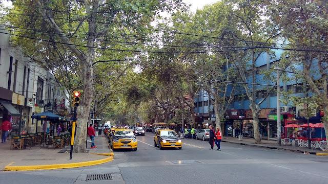 Uma rua em Mendoza, Argentina.